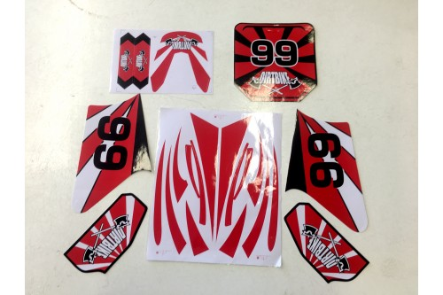 Red Sticker Decal Kit Fairing Fit Apollo 110 125 140 150cc Dirt Bike Pit Pro