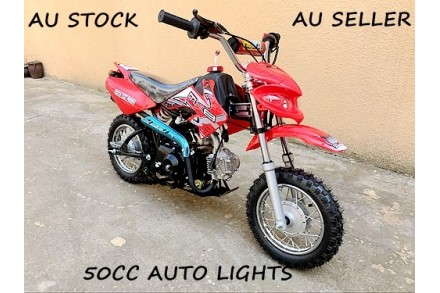50CC CRF50 STYLE REC REG PIT DIRTBIKE MOTOCROSS KIDS AUTO ELECTRIC START LIGHTS