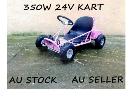 Mini Go Kart 350W 24V Electric Kart 4 Wheeler Kids Buggy Quad Atv Dirt Bike Pink
