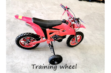 TRAINING WHEELS FOR 49CC 2 STROKE DIRT BIKE PIT BIKE 2 WHEEL REAL SIDE FOOTREST