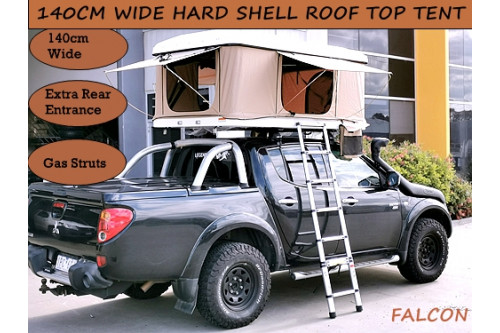 140cm Hard Shell Pop Roof Tent Camping 4x4 Top Rack Car Extra Wide 3 Door White