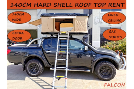 140cm Hard Shell Pop Roof Tent Camping 4x4 Top Rack Car Extra Wide 3 Door Black