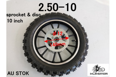 2.5-10 10 INCH REAR WHEEL SPROCKET DISC PIT PRO DIRT BIKE TRAIL BIKE 49CC 50CC