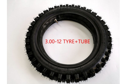 3.00-12 80/100-12 REAR KNOBBY TYRE +TUBE 12 INCH PIT PRO DIRT BIKE TRAIL BIKE