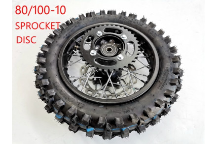 80/100-10 WHEEL KNOBBY TYRE +TUBE WITH DISC 12 INCH DIRT BIKE DISC SPROCKET 12MM
