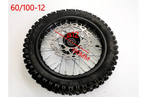 60/100-12 FRONT WHEEL KNOBBY TYRE +TUBE WITH DISC 12 INCH DIRT BIKE TRAIL BIKE