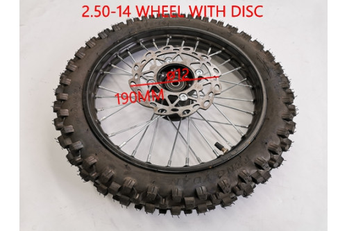 2.50-14 60/100-14 FRONT WHEEL KNOBBY TYRE +TUBE WITH DISC 14 INCH DIRT PIT BIKE