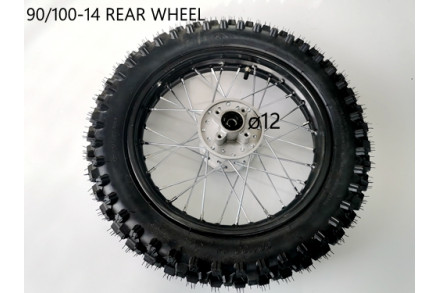 "90/100- 14"" Inch Rear Back Wheel Rim + Knobby Tyre Tire PIT PRO Dirt Bike 12mm"