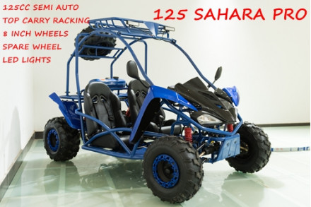 125CC Buggy ATV Sport Quad Dirt Bike 4 Wheel Go kart Semi Auto SAHARA PRO Blue