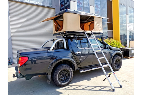 Hard Shell Roof Top TeCamping 4WD Top Rack 120cm Travel Awning FALCON BLACK