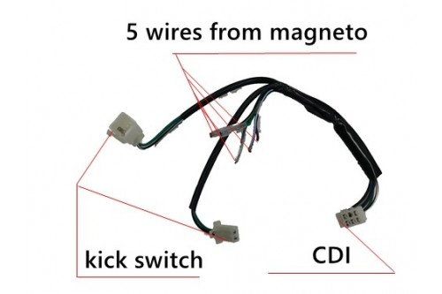 wire loom wiring harness kick start dirt bike pit trail
