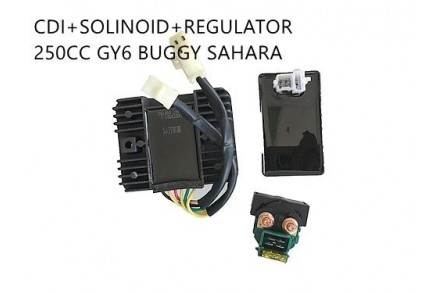 Starter Solenoid Relay + CDI UNIT +Regulator GY6/CH/CF250 Buggy Sahara Kandi