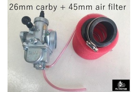 26mm Carby Carburetor + Foam Air Filter 110cc 125cc PIT Quad Dirt Bike ATV Buggy